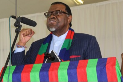 Namibian President Hage Geingob addressing the congress of the ruling Swapo party. (file photo).