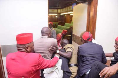One of the plain-clothed soldiers found camping in Parliament.