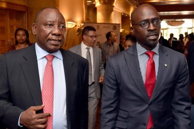 Deputy President Cyril Ramaphosa, left, and Finance Minister Malusi Gigaba meeting business leaders to plan South Africa's strategy at the forthcoming 2018 World Economic Forum meeting in Davos from January 23.