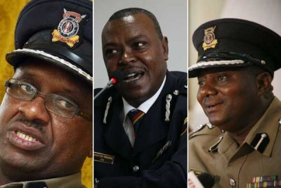 Some of the senior police officers who have been moved in a new shakeup, from left, Japheth Koome, King'ori Mwangi and Samuel Kimaru.