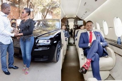 Left: Bushiri buys his wife a Rolls Royce. Right:  Bushiri in his private jet.