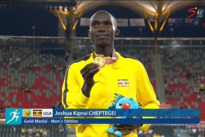 Joshua Cheptegei after his 5 000m victory at the 2018 Commonwealth Games.