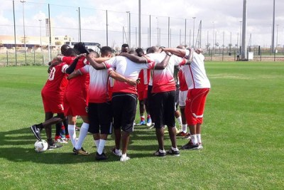 Harambee Stars players huddle for a prayer before training in Marrakech, Morocco on March 20, 2018.