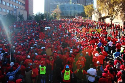 The Saftu march in Johannesburg on April 25, 2018.