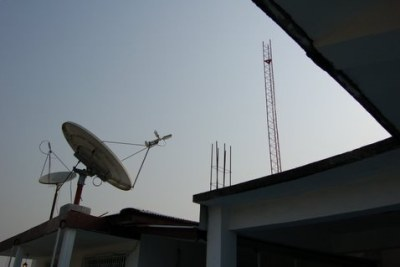 A V-SAT installation in Monrovia.