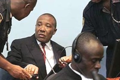 Former Liberian President Charles Taylor at the UN-backed court in Freetown, Sierra Leone.