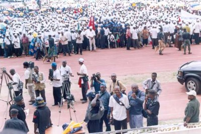 Journalists cover an earlier Nigeria Labour Congress Rally. The union has come out against the retrenchments.