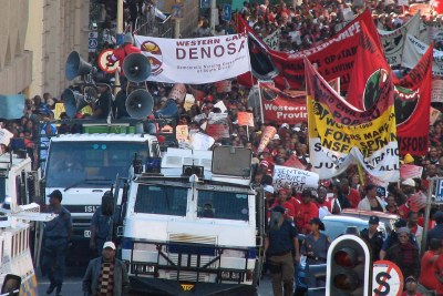 Workers protest outside Parliament in Cape Town in earlier demonstrations.