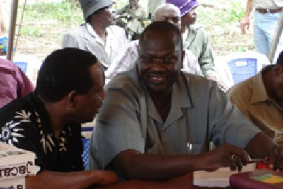 Talks mediator Riek Machar during earlier talks in Ri-kwangba