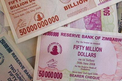 Zimbabwean dollars were replaced after they became worthless.