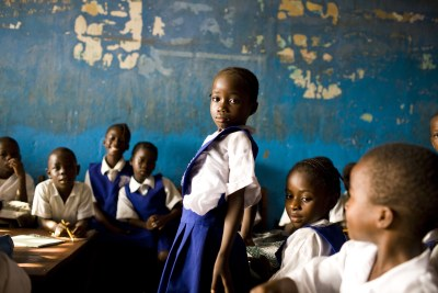 A young girl in school in Monrovia, Liberia.