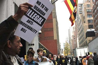 File photo: A protest at the Ugandan mission to the United Nations.