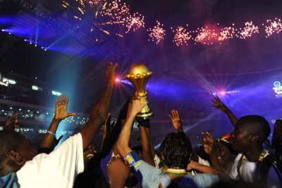 Egypt celebrates winning the 2010 Africa Cup of Nations final against Ghana in Luanda, Angola.