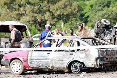 The scene of a bomb blast during the 50th Independence Anniversary around the Millenium Park, Abuja.