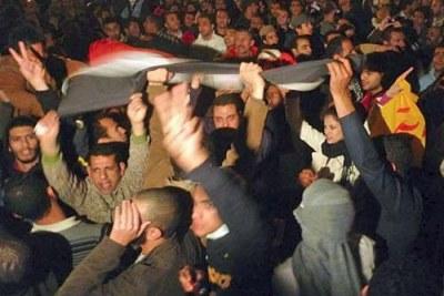 Les protestants à la place Tahrir.