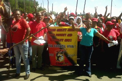 The Cosatu Swaziland Democracy Campaign protest at the South Africa / Swaziland border at Oshoek.