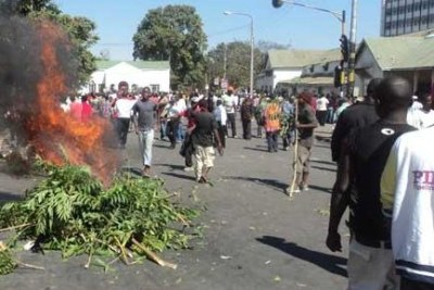Protesters burn trees on the streets during the protests in Malawi (file photo).