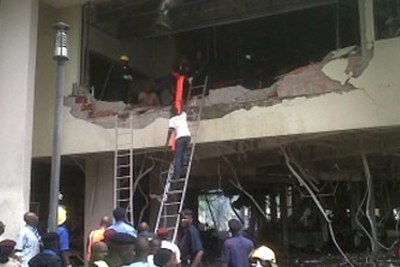 The aftermath of the bomb blast that hit the UN building in Abuja, Nigeria.