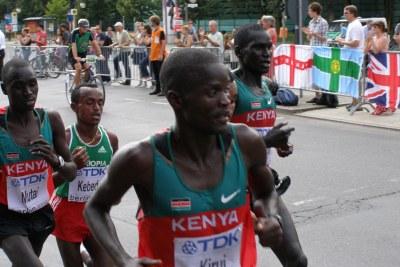 Athlètes Kényans lors du cross de Berlin en 2009.