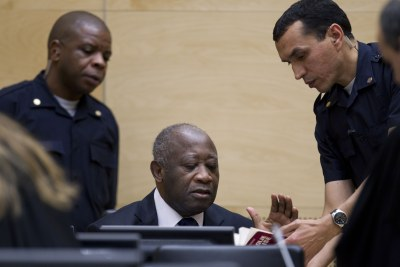 Former president Laurent Gbagbo at his first appearance in the Hague Court.