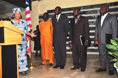 President Ellen Johnson Sirleaf announcing her first set of cabinet officials (file photo).