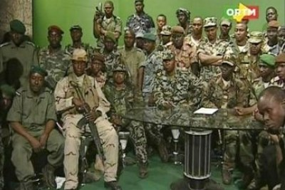 Army officers appeared on state television following the coup.
