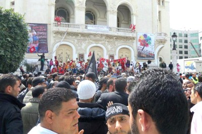 Salafists gather in front of the Municipal Theater in Tunis to demonstrate in support of the Koran, saying that the Muslim holy book is under threat by more secular elements of Tunisian society.
