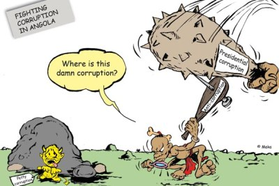 A cartoon in Maka Angola portraying allegations of corruption involving President dos Santos.