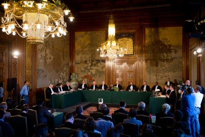 View of the International Court of Justice (ICJ) Bench during the reading of its Judgment in the case concerning Questions relating to the Obligation to Prosecute or Extradite (Belgium v. Senegal).
