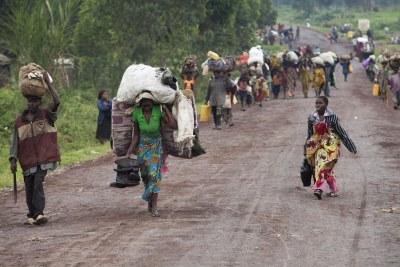 Archive - Les habitants du territoire de Rutshuru ont fui leurs maisons pour chercher refuge à Goma.
