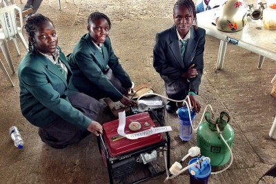 The creators behind one of the more unexpected products at the Maker Faire Africa in Lagos - a urine-powered generator (file photo).