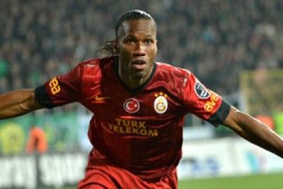 Didier Drogba, après un but marqué à Galatasaray (Turquie)