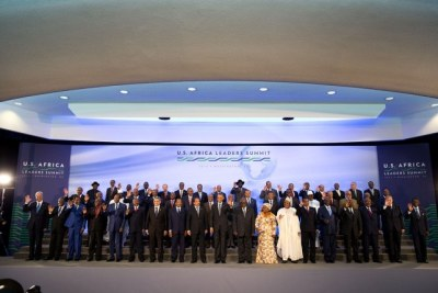 President Barack Obama joins African leaders for a group photo during the U.S.-Africa Leaders Summit at the U.S. Department of State in Washington, D.C., Aug. 6, 2014.