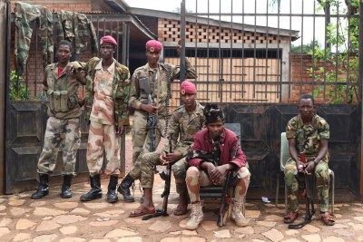 Seleka fighters stationed at St. Joseph Parish, September 5. In July, 27 civilians were killed when Seleka fighters and other armed combatants attacked thousands of people sheltering at the parish.