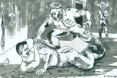 Drawing depicting the torture of inmates by Nigerian police forces (file photo).