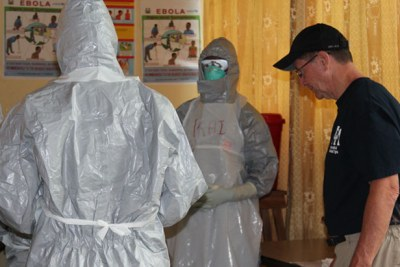 International Medical Corps experts train health workers in proper use of PPE at Lakka Hospital in Sierra Leone.