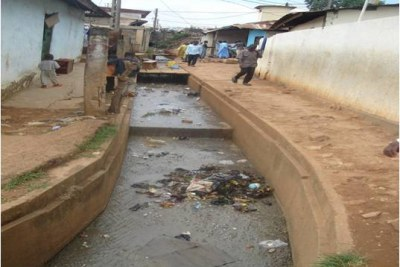 Open drain in Briqueterie, a poor neighborhood in Yaounde, capital of Cameroon, in 2009, as a sanitation pilot project was beginning.