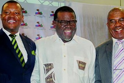 President-elect Hage Geingob flanked by DTA leader McHenry Venaani (left) and Nudo leader Asser Mbai after the announcement of election results at the Electoral Commission of Namibia headquarters in Windhoek.