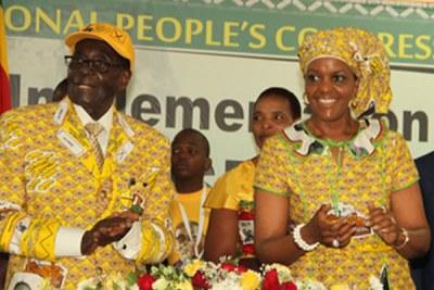President Robert Mugabe with First Lady Grace Mugabe.