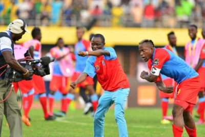 DR Congo players celebrating during the ongoing 2016 CHAN tournament in Rwanda.