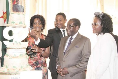 Good Ol' days - The Mugabe family celebrates Robert Mugabe's 92nd birthday (file photo).