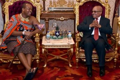 Le Président Jacob Zuma et sa Majesté le Roi Mswati III du royaume de Swaziland.