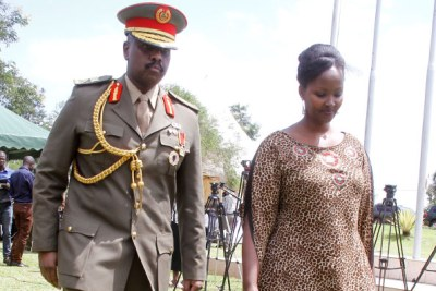 The Special Forces Command boss, Maj Gen Muhoozi Kainerugaba with wife after receiving his pips at the army headquarters in Mbuya, Kampala, yesterday.