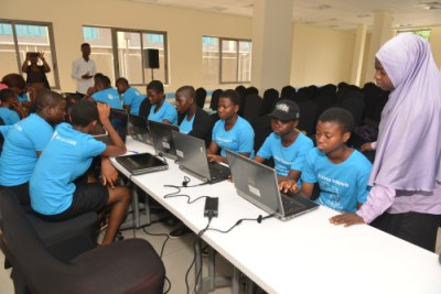 "High school girls in Lagos, Nigeria at the ""She can CODE"" event (file photo)."