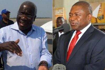 Opposition leader Afonso Dlakama, left and President Nyusi, right.