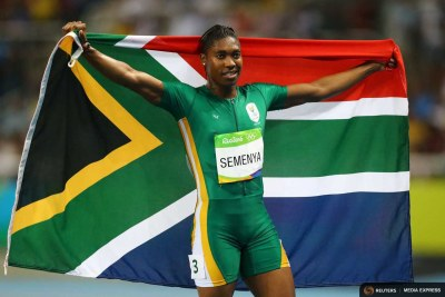 South Africa's Caster Semenya celebrates after winning the 800m final at the Rio Olympics.