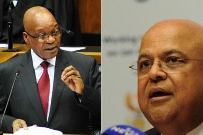 Gauche: Président Jacob Zuma. Droite: Finance Minister Pravin Gordhan