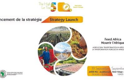 Bannière du lancement de la  « Stratégie pour la transformation agricole en Afrique 2016-2025 » de la BAD.