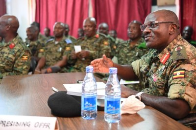 General Wamala during his last official assignment as Chief of Defence Forces, during a visit to Somalia.