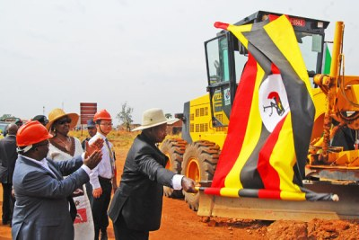 President Museveni flags off the Olwiyo-Gulu-Kitgum-Musingo road works at Anaka Town Council recently (file photo).
